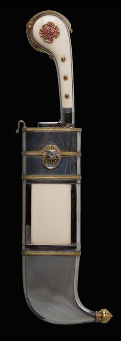 1880  Pichanghatti Dagger: Southern India – Coorg, Mysore Kingom (1399-1947), Now Karnataka state.  Silver, gold, ivory, rubies