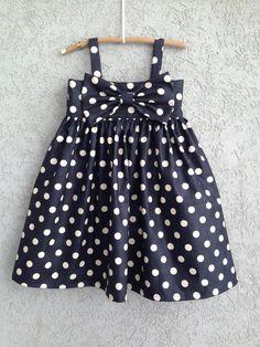 Navy polka dot baby/toddler bow dress