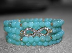 Aqua Infinity Beaded Bracelet set