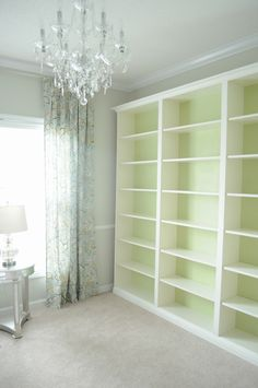 "Not So Newlywed McGees: ""Built-in"" Bookshelves - Ikea Billy hack, trim painted Valspar Dove White"