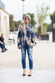 boyfriend jeans + plaid shirt (sarah harris)