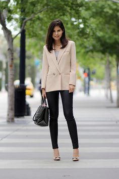 menswear inspired double blazer with fitted pants and coordinating heels