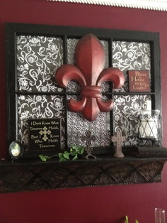 Old window, scrapbook paper & a shelf