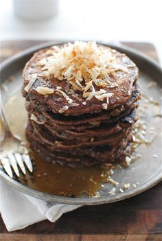 Toasted Coconut Chocolate Pancakes - by Bev Cooks