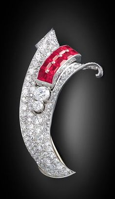 Art Deco Diamond and Ruby Brooch.