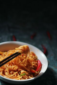This super spicy noodles is sure to warm to you up... Fiery Hot Noodles with Bell Peppers. Vegan. Quick and Easy!