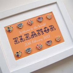 Girl's framed print with buttons