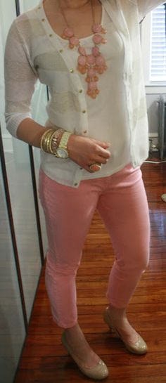 Striped Cardigan, White shirt, Pink pants, Nude flats, and a Contrast necklace.