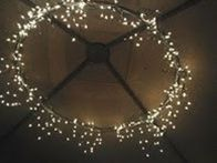 1 hula hoop (spray painted) + 2 strings of icicle lights and duct tape = outdoor dining area chandelier. - Click image to find more DIY & Crafts Pinterest pins