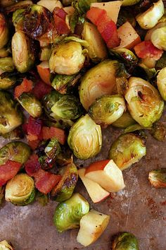 Roasted Brussel Sprouts, Bacon & Apples -