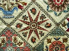 "Close-up, ""Antique Wedding Sampler Revisited"" by Di Ford.  Posted at Seams French: Alsace Quilts.  Posted at Seams French: Alsace Quilts"
