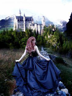 princess, dream, fairy tales, castles, the dress, fairi tale, neuschwanstein castle, blues, running away