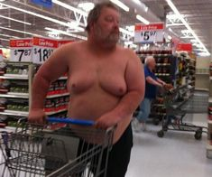 No Shirt Plenty of Service at Walmart. Moobs Included. - Funny Pictures at Walmart