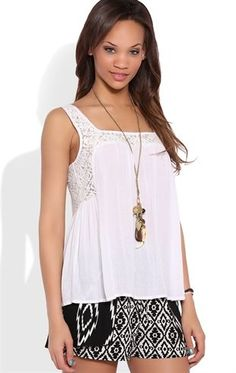 Deb Shops Flowy Trapeze Tank Top with Square Crochet Neckline