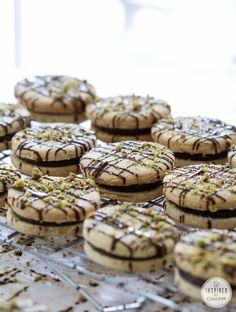 Pistachio Shortbread Cookies with Dark Chocolate Filling