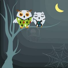 Halloween background with owls on the dead tree  Stock Photo - 7705844