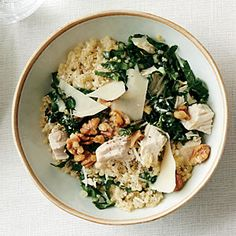 Kale Caesar Quinoa Salad with Roasted Chicken | Cooking Light #myplate #veggies #protein #wholegrain #dairy