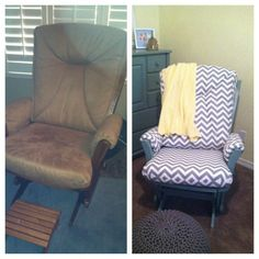 Before and After, Dutailier Rocking Chair, Glider- Chevron ,Baby Boy, Room, Nursery, Grey, Gray, Yellow, Nursing Rocker,
