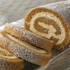 Pumpkin Cake Roll with Cream Cheese Filling Recipe.
