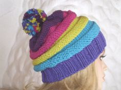 Bobble hat winter hat knitted hat ski cap hat by AngisWollBobbl