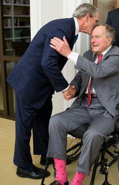 . George W Bush with dad- George H bush