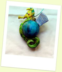 Handmade Seahorse Ornament, Custom Colorful Beach Christmas Ornament and Wall Decoration, Under the Sea Themed XMas Ornament, Made to Order