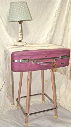 DIY Pcycled Suitcase Table. Pink and Purple. Small Vintage Boho Cottage Table. Repurposed Suitcase on Pink Metal Stool Legs