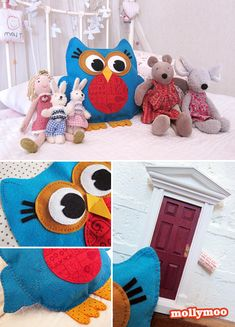Meet Izzie – Molly's new nocturnal bed friend. Izzie's job is to watch over M while she sleeps and whisper happy thoughts to her while she dreams, so that her night terrors fade away. I cut and shaped all the felt pieces over one evening, using jars, tubs of polyfilla! and bottle tops to outline the circle shapes, and my beady eyes to shape the rest. Stage photos & full story on http://www.mollymoo.ie