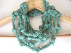Mint green necklace  knitted jewelry  eco cotton by tricotaria, $34.00