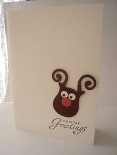 Reindeer Christmas card. Using stampin up owl builder punch.