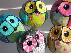 Little owls in pijamas\paper mache\8cm tall
