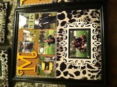 Upstyled thrift store frame becomes bulletin board. Senior gifts for graduating soccer players. The whole team helped craft them.