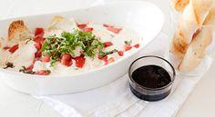 Hot Caprese Dip with garlic dippers