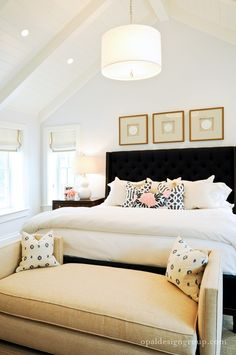 bedroom decor, headboard, beds, benches, couch, bedroom design, master bedrooms, vaulted ceilings, black