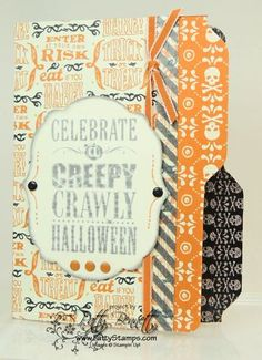 www.PattyStamps.com - fun file folder Halloween card featuring the Envelope Punch Board!