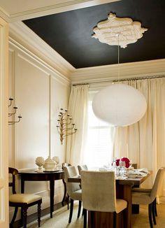Black ceiling.  Trim/panels