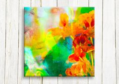 Canvas wall art spring orange flowers 12/12 30/30 by OneDesign4U, $39.00