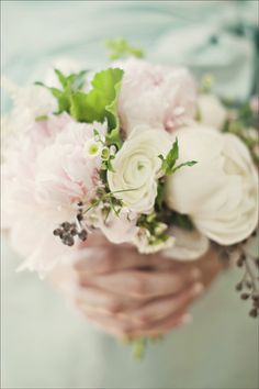 Bridesmaid's bouquet - pink and white peonies, white ranunculus, pink astilbe, seeded eucalyptus, ladies mantle, white waxflower, fresh mint