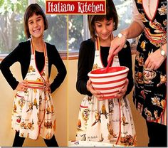 Italy Girl Apron ~ Free Sewing Pattern ~ Great Design for Adults too