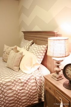 I love the chevron stripes in this neutral color scheme. This website has TONS of different paint ideas!