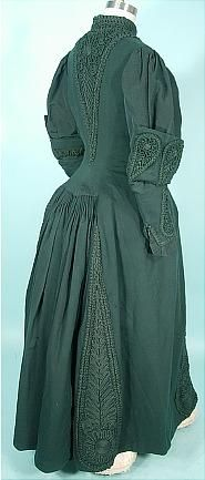 c. 1890 Victorian Coat of Bottle Green Wool and Soutache -- View 2 bottl green, dress, 1890 victorian, victorian coat