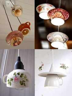 vintage teacups, tea sets, light fixtures, lighting fixtures, lamp, coffee cups, pendant lights, diy projects, tea lights