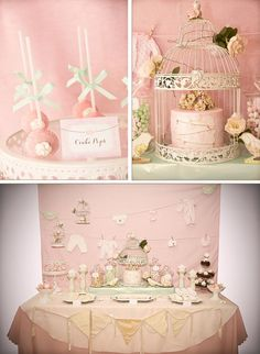 Vintage Birdie Baby Shower with Such ADORABLE IDEAS via Kara's Party Ideas | KarasPartyIdeas.com #Bird #Christening #Blessing #Party #Ideas #Supplies (1) birdi babi, ador idea, vintage pink, vintage birds, shower idea, baby shower parties, vintag birdi, babi shower, baby showers