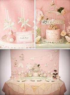 birdi babi, ador idea, vintage pink, vintage birds, shower idea, baby shower parties, vintag birdi, babi shower, baby showers