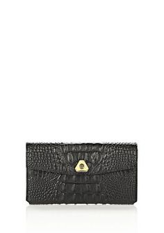 ShopStyle: Alexander Wang Trigone Wallet In Embossed Black With Yellow Gold $295