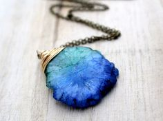Stalactite Necklace Blue Green BiColor Stone In by SaressaDesigns