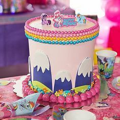Trot on over to our Magical My Little Pony cake how-to for details on this rainbowlicious towering confection!