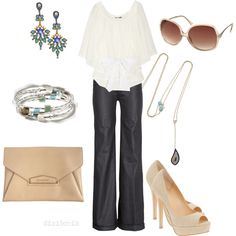 Classy is the word for this outfit. Crisp, cuffed pants with the white top....simple elegance:)