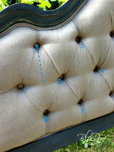DIY Diamond-tufted headboard