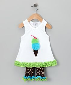 Take a look at this Brown Giraffe Tunic & Capri Pants - Infant & Toddler by Mud Pie on #zulily today!
